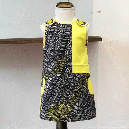 北欧ブランドプリント柄ワンピース Emilia bebe 1272050 Kids Sleeveless dress in Ohra print and yellow block color
