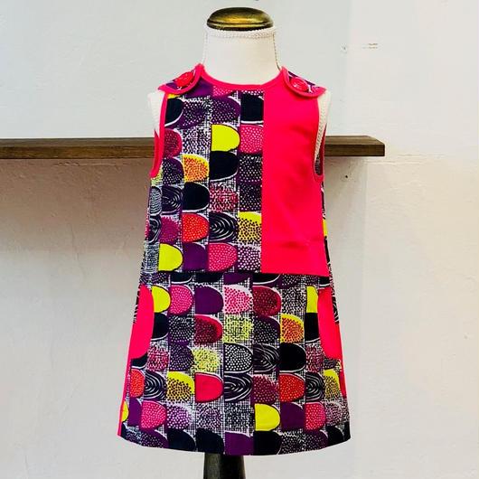 北欧ブランドプリント柄ワンピース Emilia bebe 1272050 Sleeveless dress in pink dreams print and pink block color