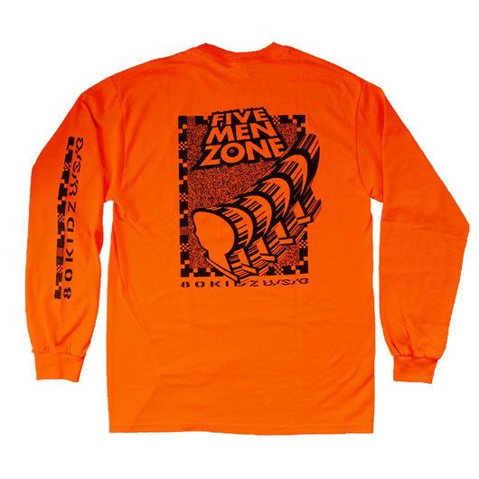 "80KIDZ x U/S/O x WATANABE STUDIO - Long Sleeve Tee ""Five Men Zone"" (orange)"