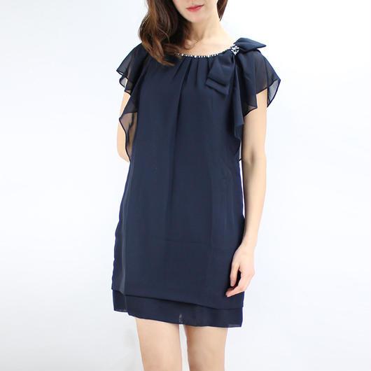 【アウトレット】リボン付フリル袖ドレス_0111223