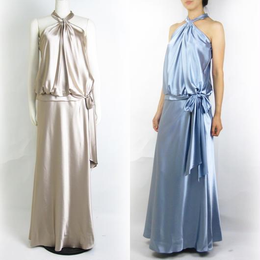 サテンホルターロングドレス