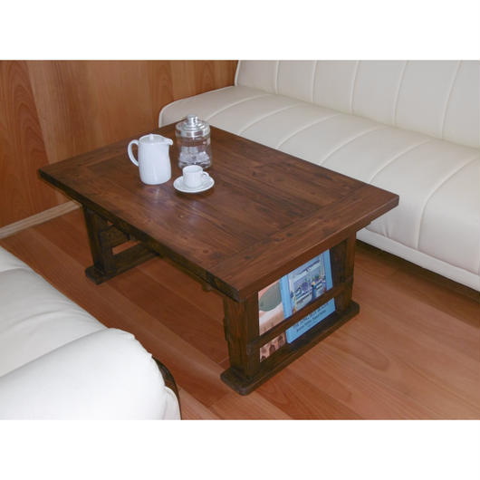 伸長式ローテーブル 両サイドマガジンラック仕様 アンティーク調
