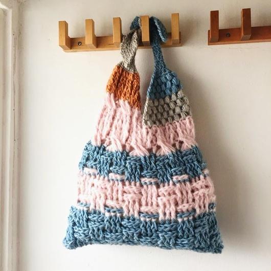 送料無料★ピンク×水色のあずまぶくろバッグ