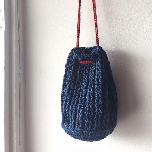 送料込み コットンデニムで編むドラム型きんちゃくポーチ 印刷済み編み図のみ
