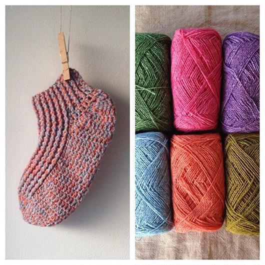 送料込み 糸を切らずに編める簡単かぎ針編みのくつした-印刷済み編み図のみ-