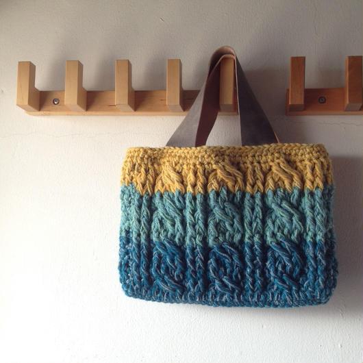 sale かぎ針なわ編みのミニトートバッグ