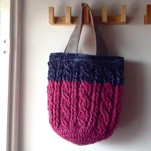sale かぎ針なわ編みの丸底バッグ