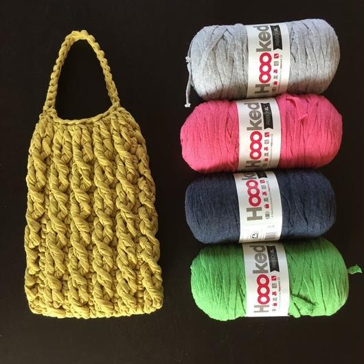 在庫限り★ズパゲッティで編むチェーン模様のバッグ-編み図糸つきキット