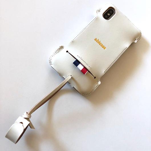 1点限り【アウトレット】abicaseXRWJ/iPhoneX用リボンウォレットジャケット/白