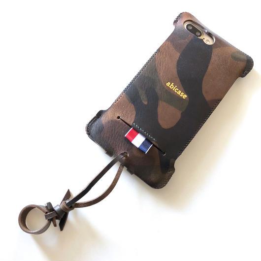【サンプル品】iPhone8Plus用カモフラリボンウォレットジャケット