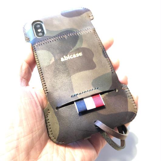 【1点物】abicaseXRWJ/iPhoneX用リボンウォレットジャケット/カモフラ