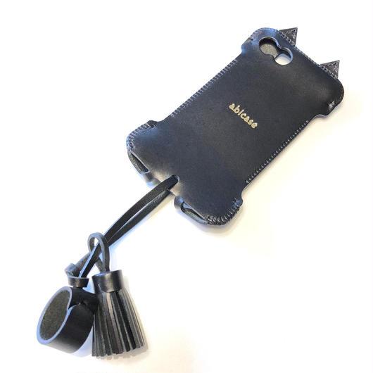 【タッセル分がお得です!】abicase8WJ(iPhone8用)黒猫ウォレットジャケット