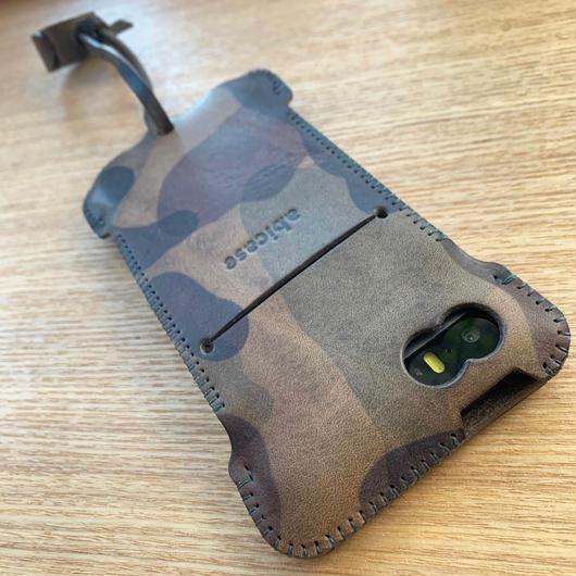 1点物【iPhone SE】手染めカモフラレザー製 ウォレットジャケット