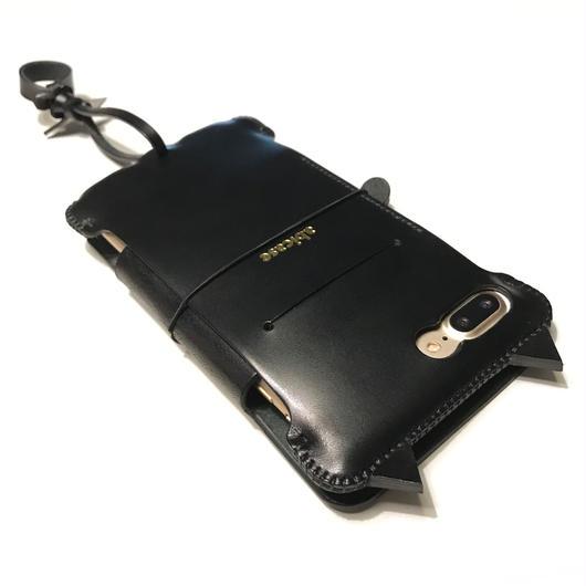 【予約受付】【abicaseflap】iPhone7Plus 黒猫手帳ジャケット