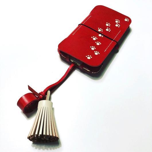 【1点物】abicase8FLAP/iPhone8用猫耳手帳ジャケット/肉球&タッセル付