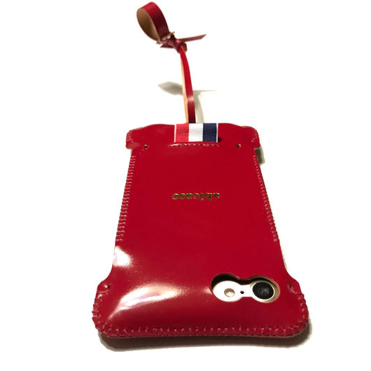 【abicasePro】 iPhone7 カーマインレッドコードバン製リボンウォレットジャケット