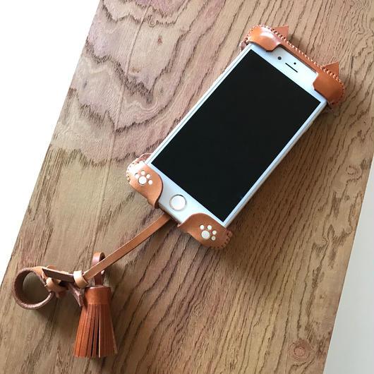 【1点物】iPhone7swj neco 飴色☓キャメルのツートン猫ジャケット