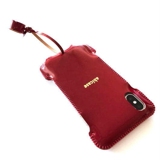 【在庫有り】【カーマインレッドコードバン】abicaseXWJ/iPhoneX用ウォレットジャケット