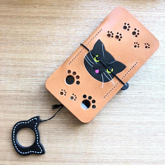 iPhone7&8用 黒猫手帳ジャケット