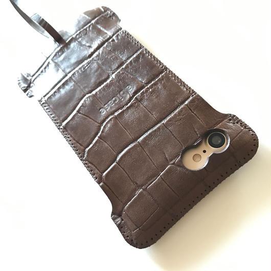 予約受付【abiwork】iPhone7 nswj   クロコ型押しウォレットジャケット