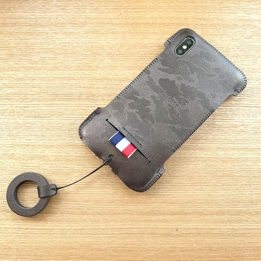 1点物【iPhone XS Max】リボンジャケット ガンメタ迷彩