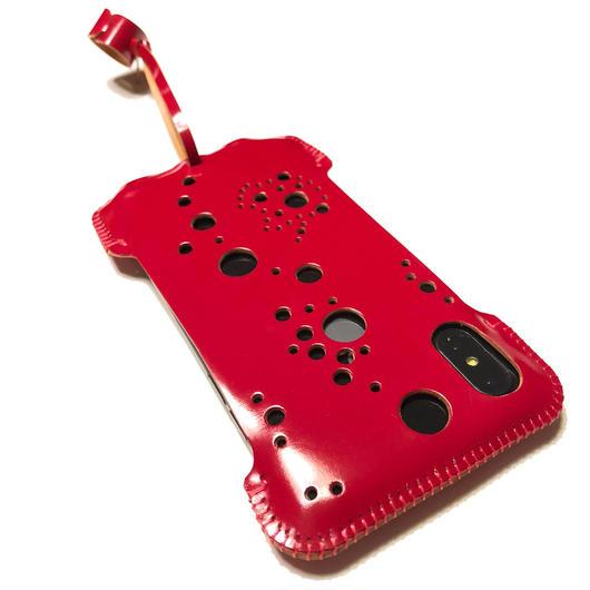 【1点物】【カーマインレッドコードバン】abicaseXSJ/iPhoneX用シンプルジャケット