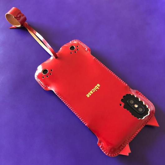 【桜猫】【カーマインレッドコードバン】abicaseXWJ/iPhoneX用ウォレットジャケット