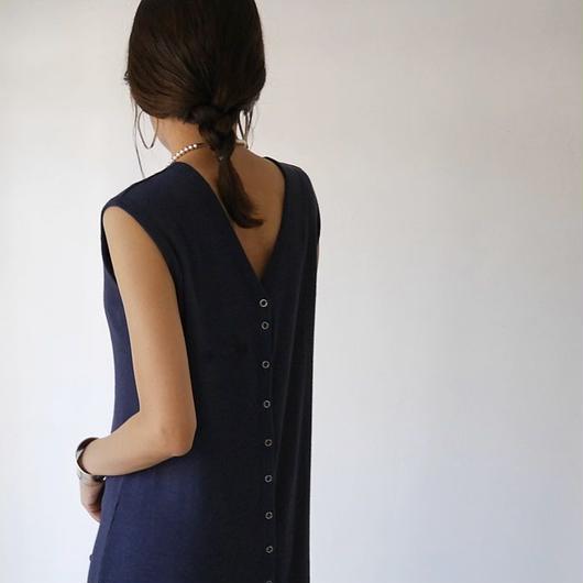 ◆RESTOCK◆Linen-Cotton Rib ReversibleDress LeggingsSET/NAVY
