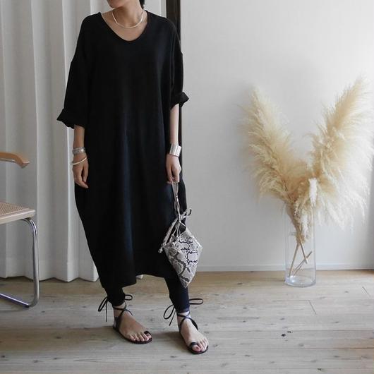 Linem-Cotton Vneck Dress BELT-SET (BLACK)
