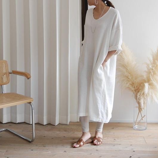 Linem-Cotton Vneck Dress BELT-SET (WHITE)