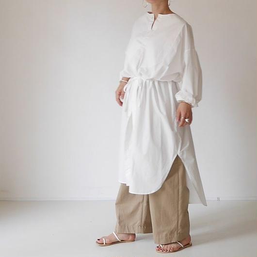 ■RESTOCK■OHMI  TYPEWRITER  SHIRT-DRESS(WHITE)