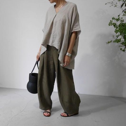 BELGIUM NATURAL DYED LINEN-PulloverShirt/BEIGE