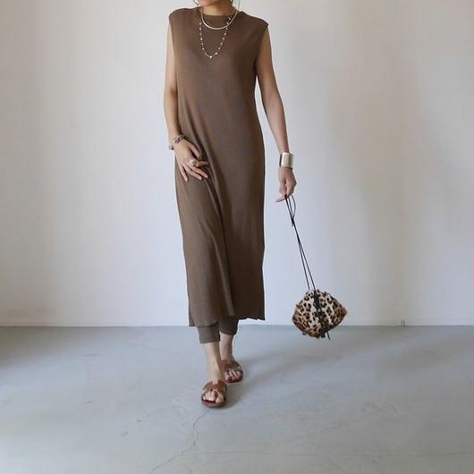◆RESTOCK◆Linen-Cotton Rib ReversibleDress LeggingsSET/MOCA-KHAKI
