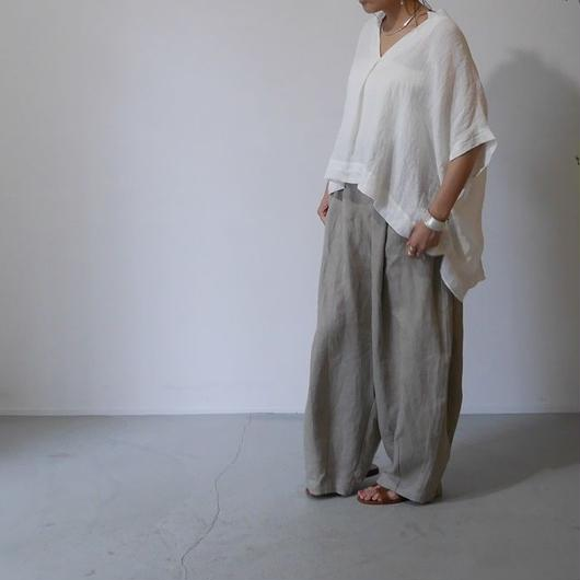 BELGIUM NATURAL DYED LINEN-WidePulloverShirt/WHITE