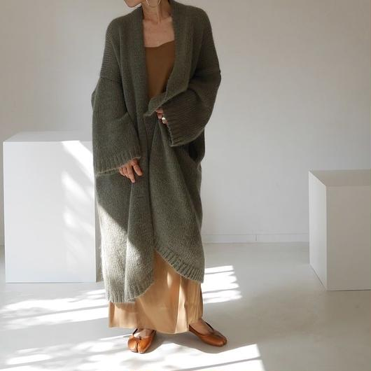 KID MOHAIR WIDE COVER KNIT GOWN(CALM GREEN)