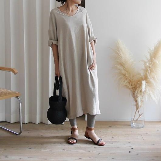 Linem-Cotton Vneck Dress BELT-SET (BEIGE)