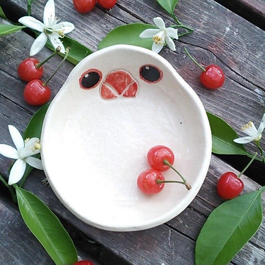 白文鳥の小皿(丸)