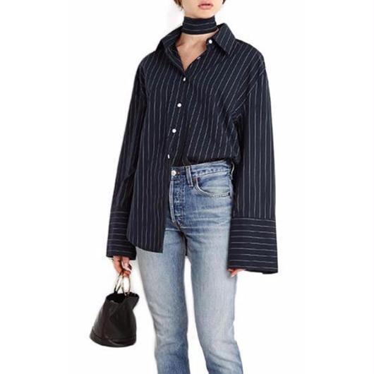 Bow Stripeルーズシャツ