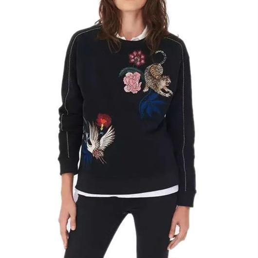 Tiger&Birds刺繍スウェットシャツ