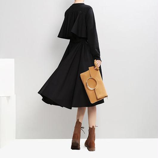 Ruffle Backドレス《BLACK/NAVY》