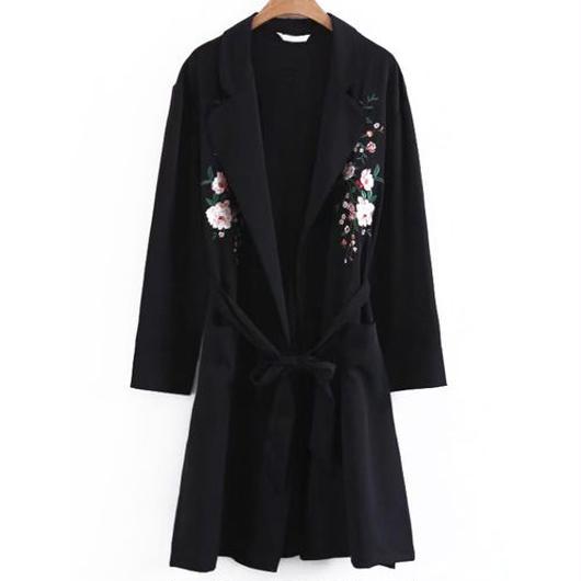 Floral刺繍ガウンコート
