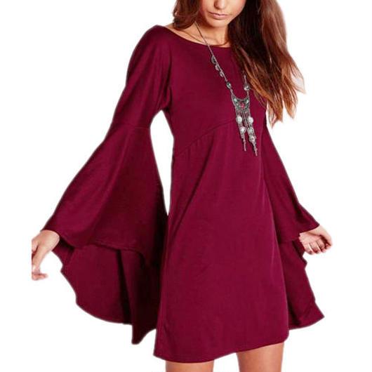 Flare Sleeveチュニックドレス《Burgundy/Khaki》