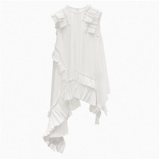 Pleated Assymetricalトップス≪WHITE/BLACK≫