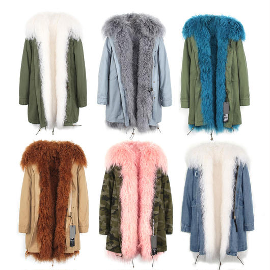 *カラーを組み合わせてセミオーダー*Colored Furモッズコート《リアルシープファー/Long》