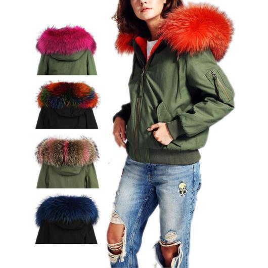 *カラーを組み合わせてセミオーダー*Colored Fur フード付きMA1ジャケット《ユニセックス》