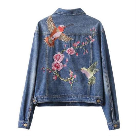 Flower&Birds刺繍デニムルーズジャケット