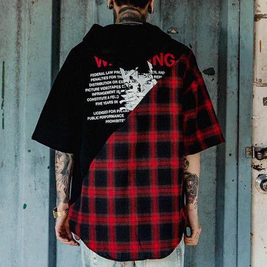 [DOPE]バイカラーデザインフードTシャツ 2カラー