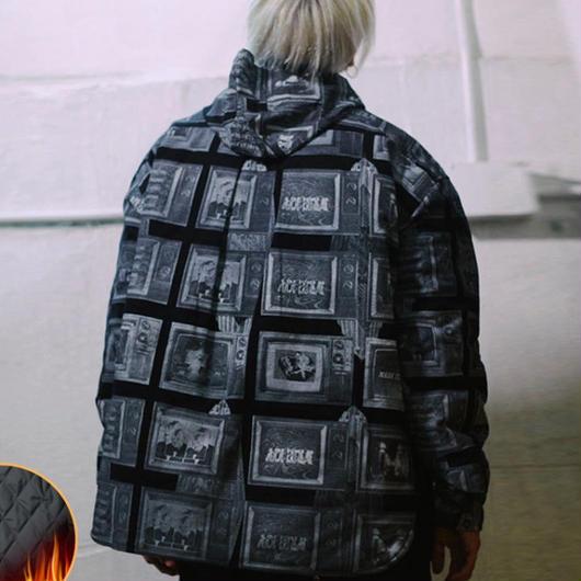 【売れ筋】絵画デザインフード付きジャケット 2カラー