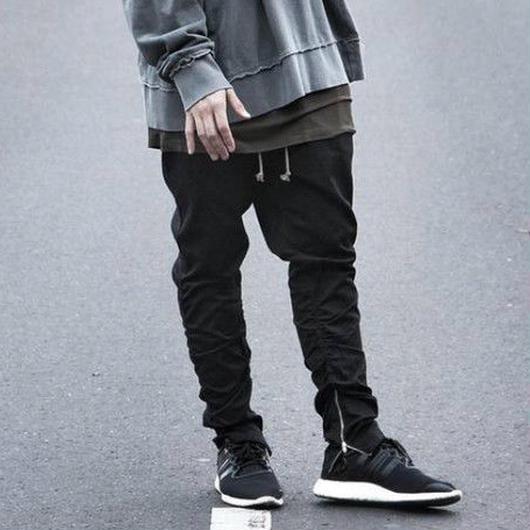 【トレンド】ストリート風ファスナーパンツ 2カラー