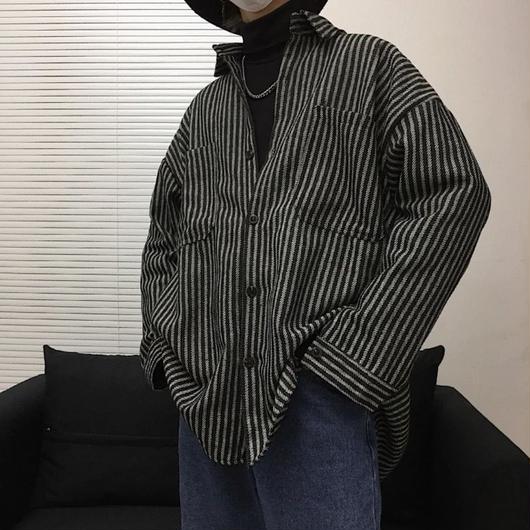 【HOT】シンプルボーダーデザインシャツ